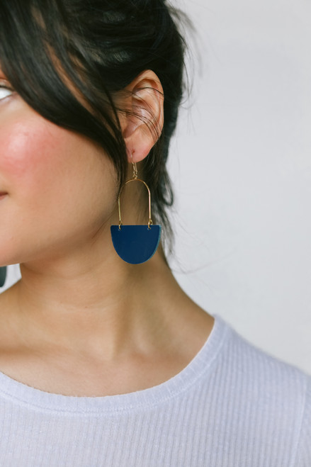 Select Navy Isla Hoop | Nickel and Suede Leather Earirngs