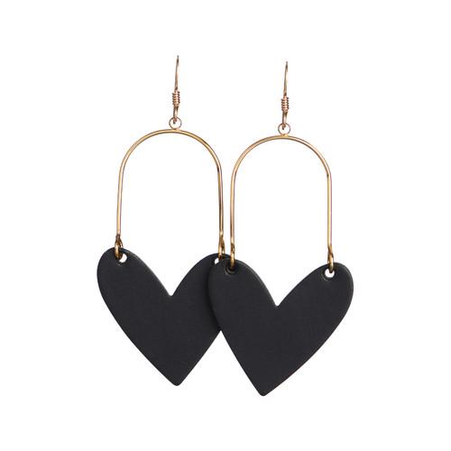 Sweetheart Hoop Black Leather Earrings   Nickel and Suede