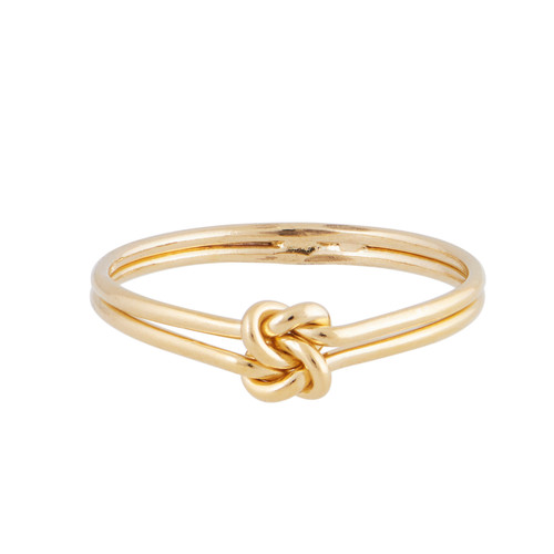 Double Knot Gold Ring   Nickel and Suede
