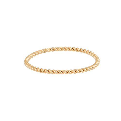 Twisted Gold Stacking Ring | Nickel and Suede