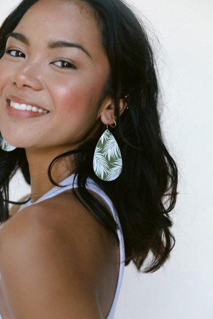 Select Olive and White Tropical Leather Earring | Nickel and Suede