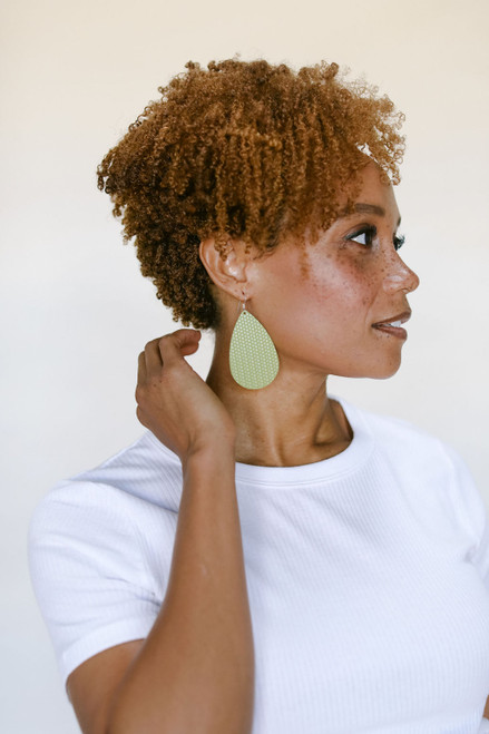 Pistachio Cardigan Tear Drop Leather Earrings | Nickel & Suede