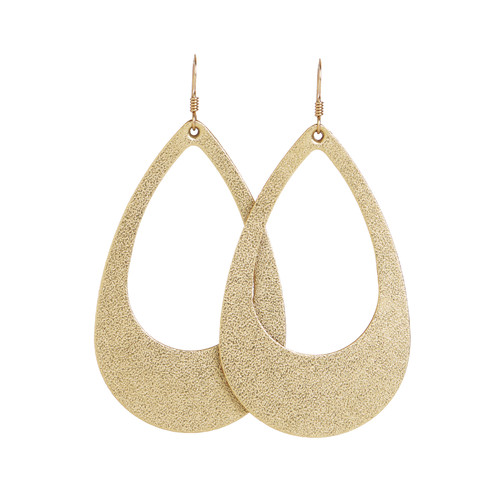 Gold Satin Cut-Out Leather Earrings | Nickel & Suede
