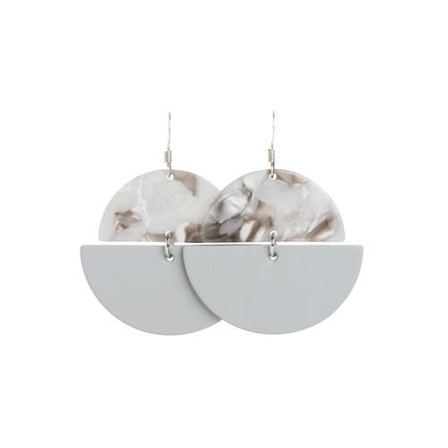 Select Gray Luna Leather Earrings | Nickel & Suede