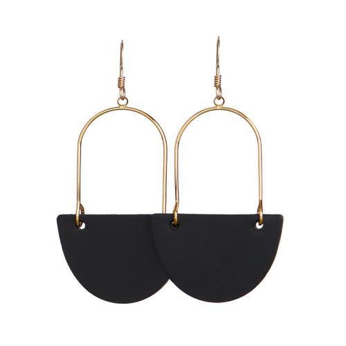 Black Isla Hoop Leather Earrings   Nickel and Suede