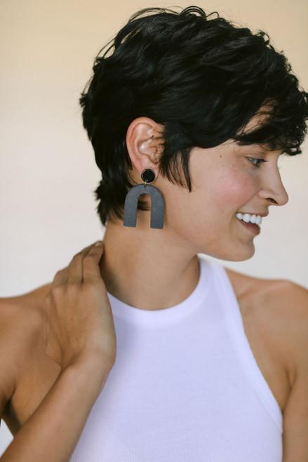 Black Beau Leather Earrings   Nickel and Suede