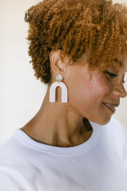 Soft Sand Beau Leather Earrings | Nickel and Suede