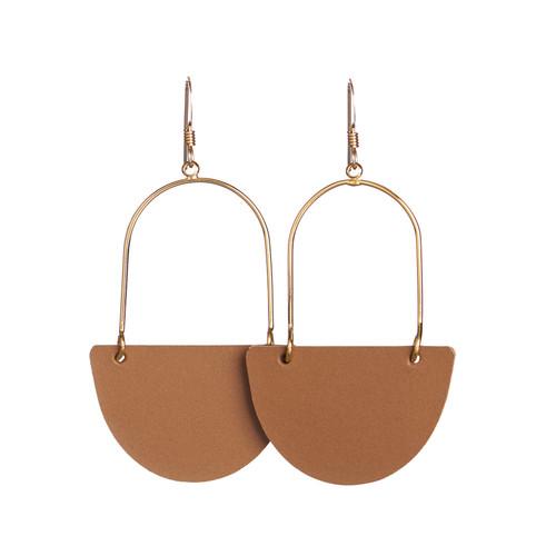 London Tan Isla Hoop Leather Earrings | Nickel and Suede