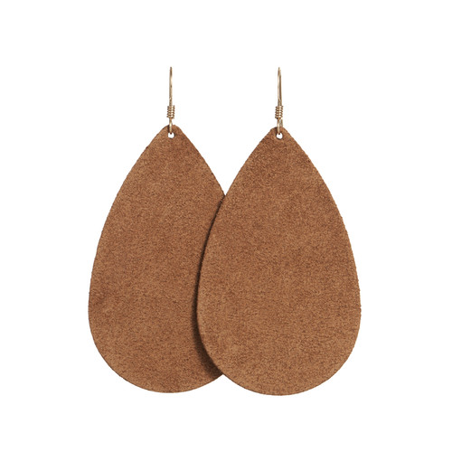 Tawny Suede Leather Earrings   Nickel and Suede