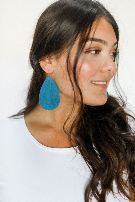 Peacock Suede Leather Earrings   Nickel and Suede