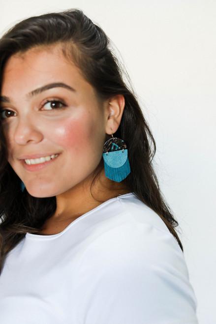 Indie Fringe Peacock Leather Earrings | Nickel and Suede