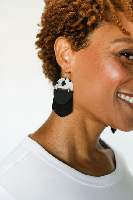 Indie Fringe Black Leather Earrings | Nickel and Suede