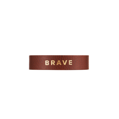 Cognac Empowerment Thin Cuff | Nickel and Suede