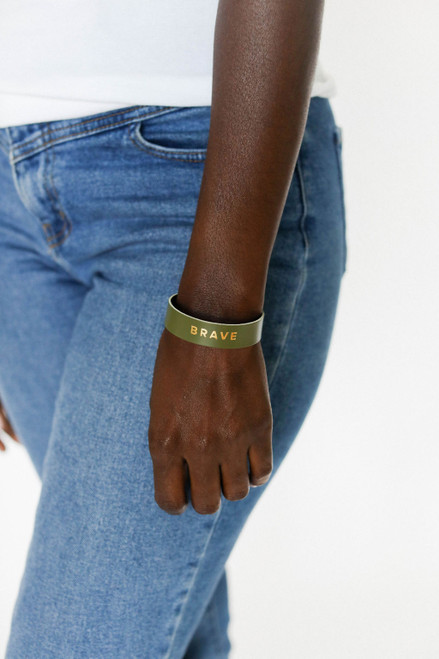 Olive Empowerment Thin Cuff | Nickel and Suede