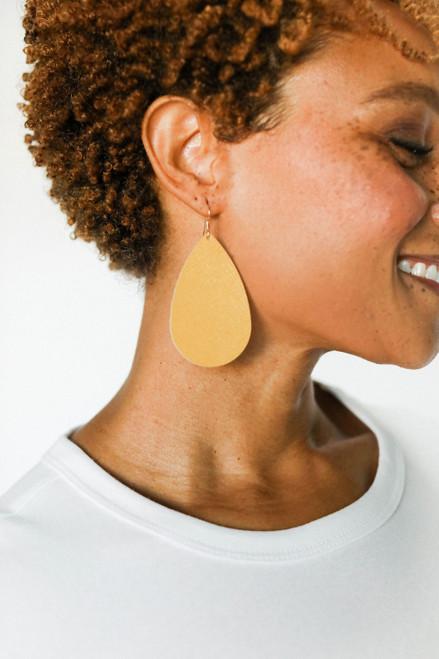 Marigold Leather Earrings | Nickel & Suede