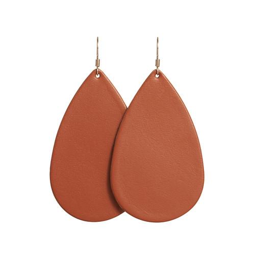 Terracotta Teardrop Leather Earrings   Nickel and Suede