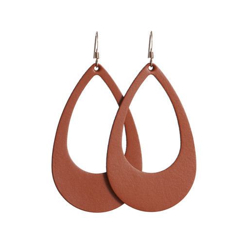 Terracotta Cut-Out Leather Earrings | Nickel and Suede