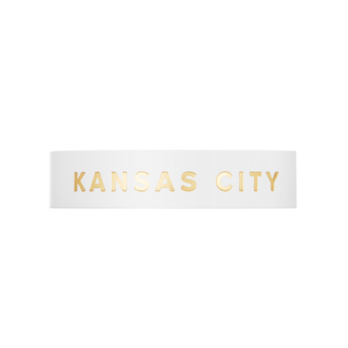 Kansas City White Thin Leather Cuff | Nickel & Suede