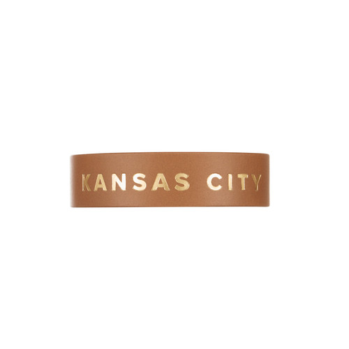 Kansas City London Tan Thin Leather Cuff | Nickel & Suede