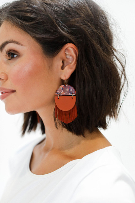 Terracotta Indie Fringe Leather Earrings | Nickel & Suede