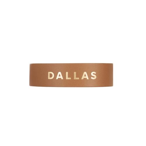 Dallas London Tan Thin Leather Cuff   Nickel & Suede