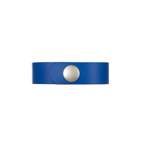 Dallas Select Blue Thin Leather Cuff | Nickel & Suede