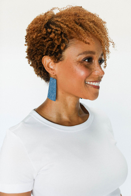 Teal Ridge Gem Leather Earrings | Nickel & Suede