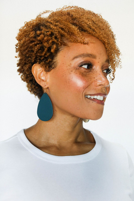 Royal Teal Leather Earrings