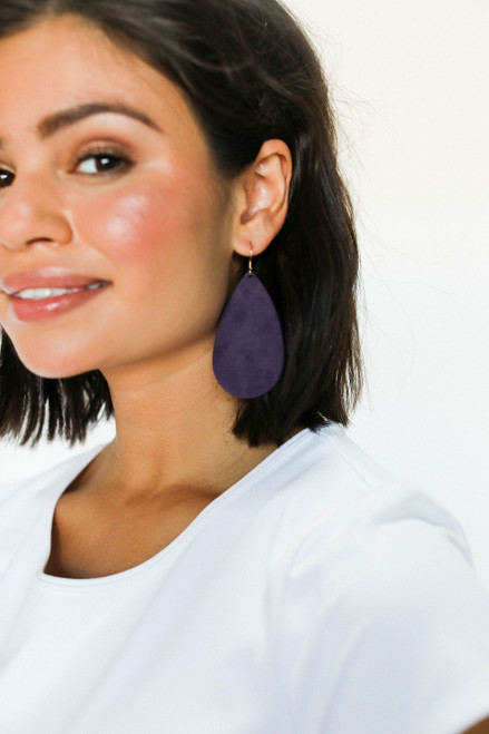 Blackberry Suede Leather Earrings | Nickel and Suede