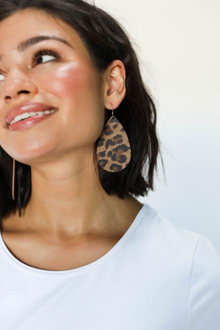 Fierce Leopard Teardrop Leather Earrings | Nickel and Suede