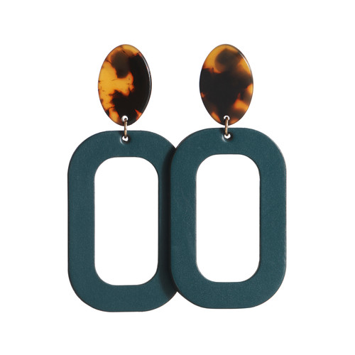 Royal Teal Bloch with Tortoise Post Leather Earring | Nickel and Suede
