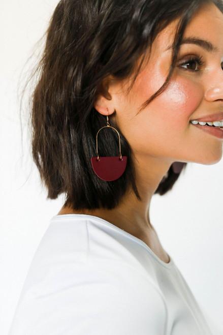 Select Burgundy Isla Hoop Leather Earrings | Nickel and Suede