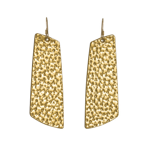 Hammered Gold Gem Leather Earrings | Nickel and Suede