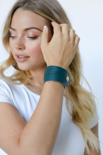 Royal Teal Slit Leather Cuff