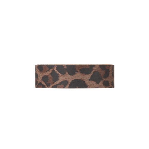 Fierce Leopard Thin Leather Cuff | Nickel and Suede