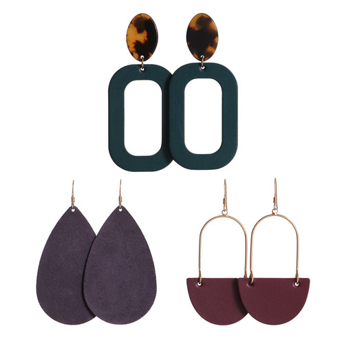 N&S Radiance Set Leather Earrings | Nickel and Suede