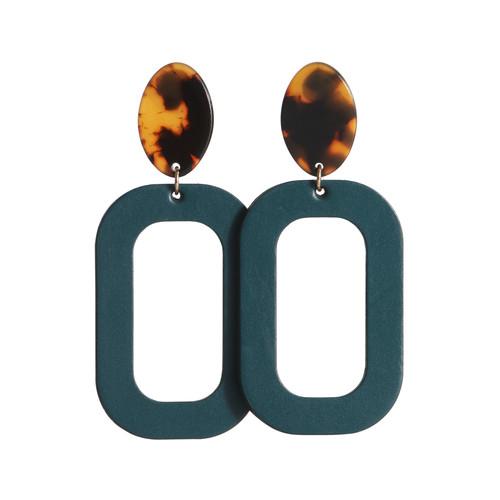 Royal Teal Bloch   N&S Radiance Set Leather Earrings   Nickel and Suede