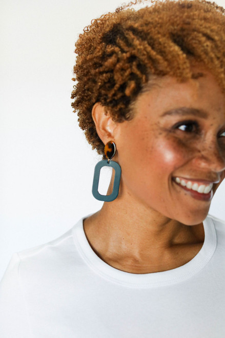 Royal Teal Bloch | N&S Radiance Set Leather Earrings | Nickel and Suede