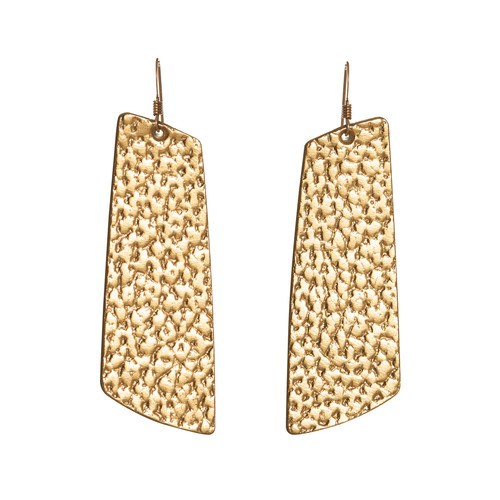 Hammered Gold Gem | N&S Timeless Leather Earring Set | Nickel and Suede