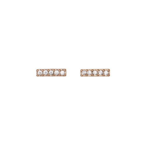 Crystal Bar Studs | Nickel & Suede