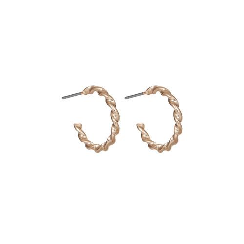 Twisted Gold Hoop | Nickel & Suede