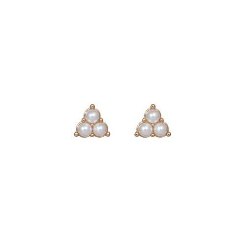 Pearl Cluster Stud | Nickel & Suede