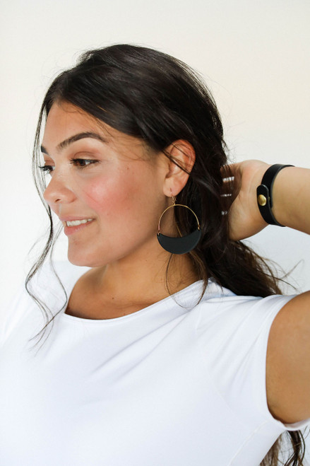 Select Black Aster Crescent Hoop Leather Earrings | Nickel and Suede