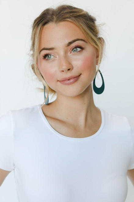 Royal Teal Cut-Out Leather Earrings | Nickel and Suede