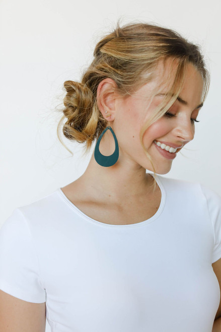 Royal Teal Cut-Out Leather Earrings