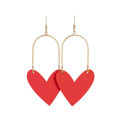Sweetheart Hoop Select Crimson Leather Earrings   Nickel and Suede