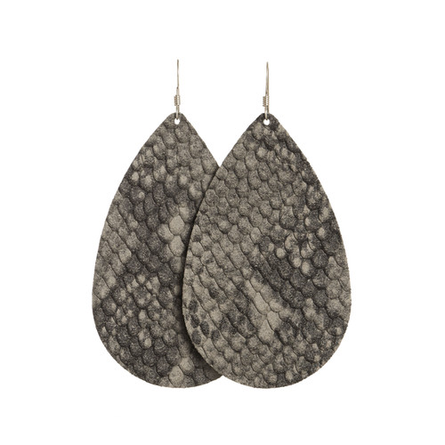 Dark Gray Python Leather Earrings | Nickel and Suede