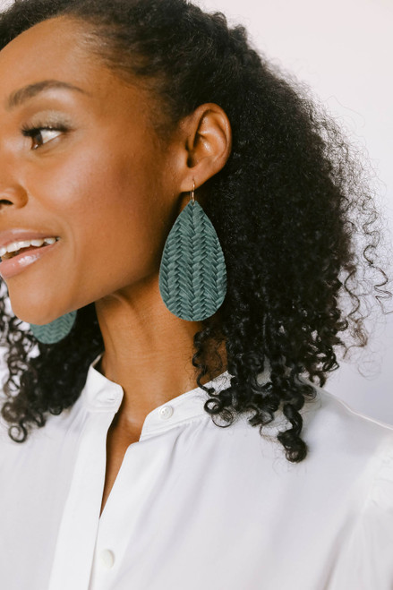 Evergreen Knit Leather Earrings | Nickel & Suede