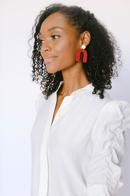 Select Crimson Beau Leather Earrings   Nickel and Suede