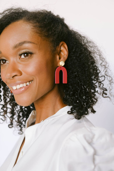 Select Crimson Beau Leather Earrings | Nickel and Suede